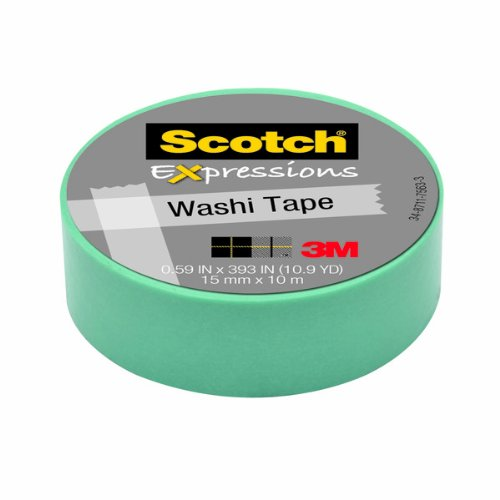 Scotch Expressions Washi Tape, .59-Inches x 393-Inches, Pastel Blue, 6 Rolls/Pack kitmmmc214pnkunv10200 value kit scotch expressions magic tape mmmc214pnk and universal small binder clips unv10200
