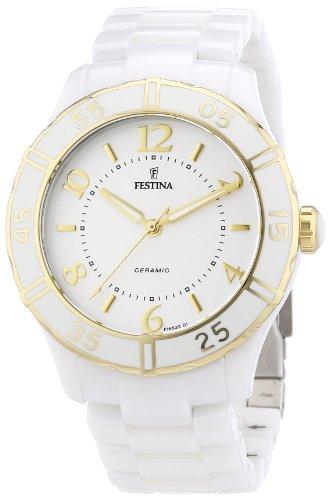 Festina F16633/1 - Reloj analógico de cuarzo para mujer con correa de cerámica, color blanco