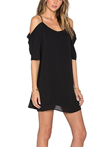 Womens Chiffon Cut Out Cold Shoulder Spaghetti Strap Mini Dress Top, Black, XX - Large