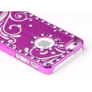 Pandamimi iphone 5 case - Deluxe Rose Pink Bling Diamond Rhinestone Aluminum Chrome Hard Case Cover for Apple iPhone 5 5G , Screen Protector