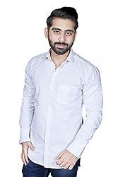 Strak Men's Cotton Polka Print Party Shirt (WC298654_44_X-Large_White)
