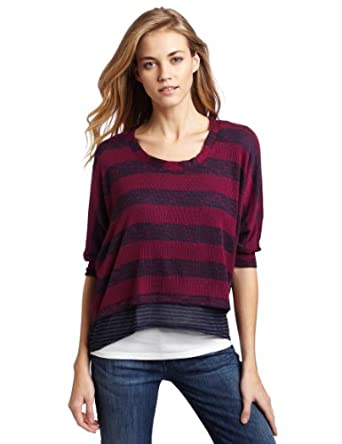 Splendid Women's Boxy Pullover Twofer Shirt, Cranberry, Small