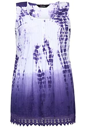 Yoursclothing Ladies Plus Size Tie Dye Sleeveless Longline Vest With Lace Detail by YoursClothing