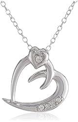 "Sterling Silver White Diamond Heart Pendant Necklace, 18"""