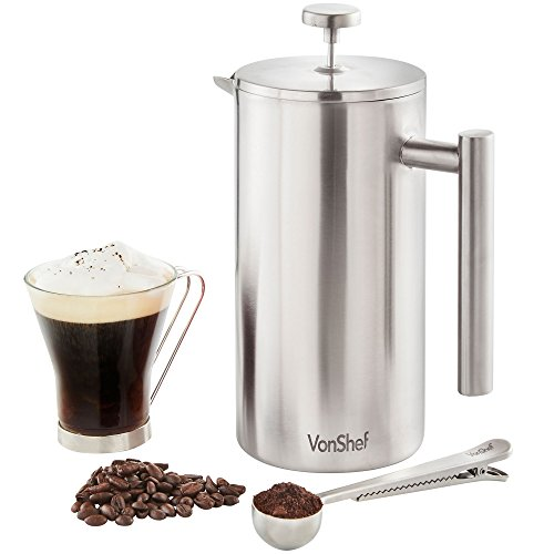For Sale! VonShef 12 Cup Double-Wall Keep Warm Satin Brushed Stainless Steel Cafetiere Coffee Filter...