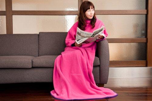着る毛布 ヌックミィ/NuKME ロング180cm ピンク 袖付きブランケット (男女兼用フリーサイズ) 無地24色+新柄13色 ガウン 防寒 保温 節電 あったかギフトにも◎ ピンク(3)