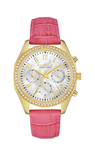 Caravelle New York Women's Quartz Watch with Pink and Gold Chronograph Quartz Stainless Steel Coated 44L169