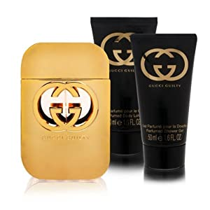 Gucci Guilty 3 Piece Gift Set for Women (Eau de Toilette Spray Plus Body Lotion Plus Shower Gel)