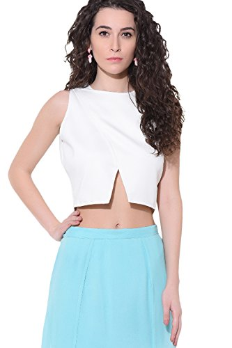Red Couture Women's Lycra V cut Crop Top(RC5SS17A_Off-White_S)