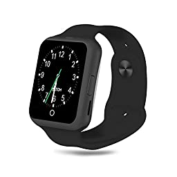Smart Watch, TUFEN Bluetooth Notifier Smartwatch Touch Screen Wrist Watches Support Micro SIM & TF / SD Card, Heart Rate Monitor, Pedometer and Camera for Android IOS Phone - Black