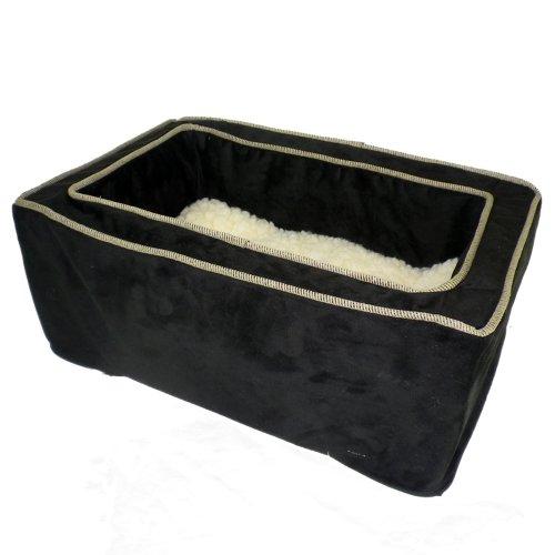 Snoozer Luxury Console Pet Car Seat, Black & Herringbone, Small front-1049432