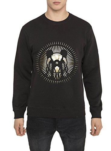 Felpe Moda Urban da Uomo, Sweatshirt Fashion Rock, Felpa Nera con Stampa in Oro - LA LUNA Design Metal 3D Top di Cotone, Alta Qualità, Girocollo, Manica Lunga, Tops Designer Cool per Uomo S M L XL XXL