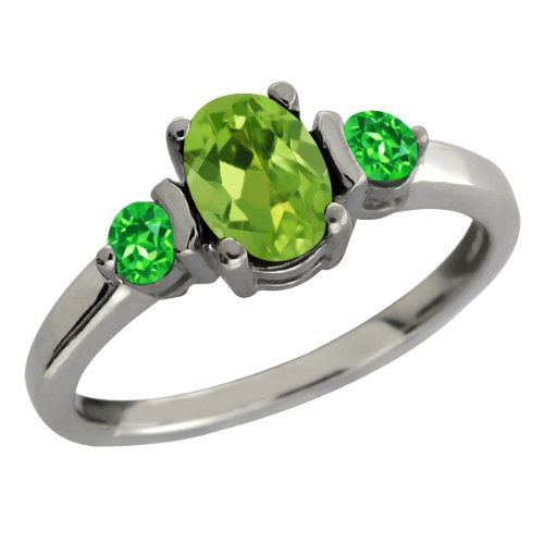 1.08 Ct Oval Green Peridot and Green Tsavorite Sterling Silver Ring