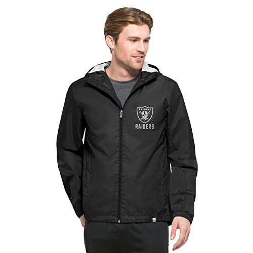 NFL Oakland Raiders Men's '47 React Full Zip Hooded Jacket, Large, Jet Black