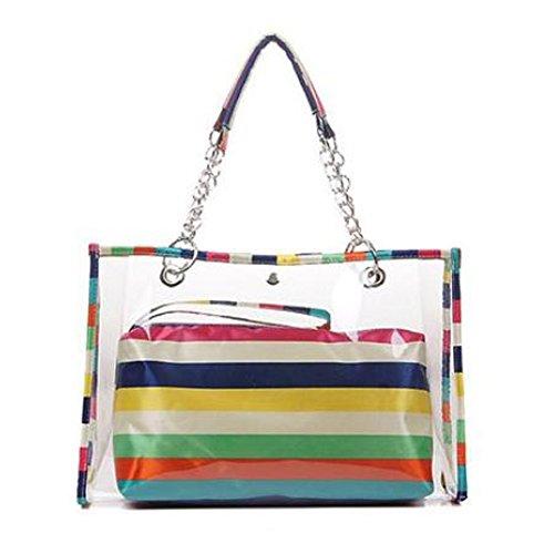 Zicac-Womens-Clear-Colorful-Stripe-Top-Handle-Handbags-Beach-Wallet-Swimming-Tote-Shoulder-Bag