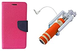 Novo Style Wallet Case Cover For Micromax Canvas Selfie Lens Q345 Pink + Wired Selfie Stick No Battery Charging Premium Sturdy Design Best Pocket Sized Selfie Stick
