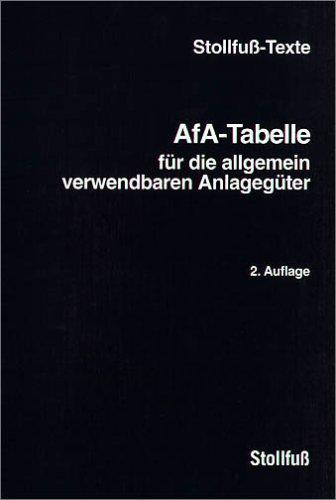 AfA-Tabelle für die allgemein verwendbaren Anlagegüter