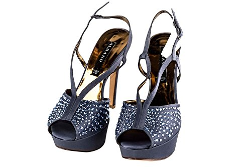 Scarpe donna eleganti ALBANO N35 sandalo tanzanite in raso open toe X1532