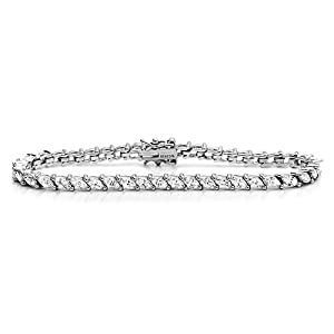 Diamoni Collection 11 Carat Simulated Diamond Marquise 7 Inches Platium Plated Sterling Silver Tennis Bracelet from Double Accent