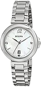 Bulova Women's 96P149 Diamond Gallery Analog Display Japanese Quartz White Watch