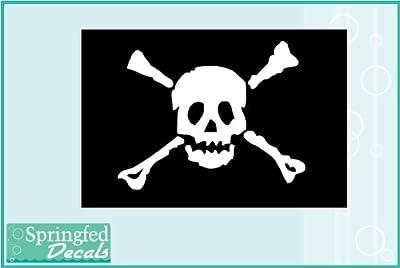 "SKULL & CROSSBONES JOLLY ROGER #1 PIRATE FLAG 5"" Vinyl Decal Car Truck Window Sticker from Springfed Printing"