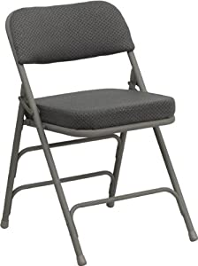 Premium Curved Triple Braced & Quad Hinged Gray Fabric Upholstered Metal Folding Chair Premium Curv