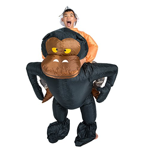 [NiSeng Mens Costumes Gorilla Halloween Dress Funny Inflatable Costume Gorilla] (Funny Gorilla Costume)