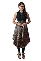 Kittus Fashion House Women's Satin A-Line Kurti (Kskrt-1079_Black_Small)