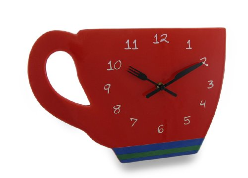 Red Ceramic `Perk Up` Coffee Cup Wall Clock