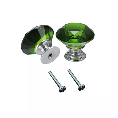 CSKB 2 PCS 30mm Green Crystal Glass Diamond Cut Door Knob for Wardrobe,Cabinet, Drawer, Chest, Bin, Dresser, Cupboard, Etc with Screw Set Home Decoration (Dressers With Glass Doors compare prices)