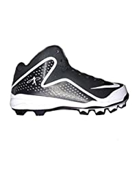 pictures of Nike Men's Air Swingman Mvp 2 MCS Mid Baseball Cleats Black White 616259-010
