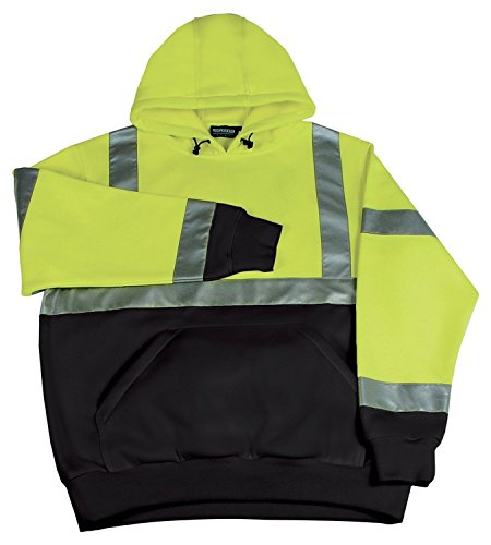 ERB Safety 61548 W377 Class 2 Hooded Pullover Sweatshirt, Medium, Hi-Viz Lime