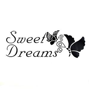 22*72cm Sweet Dreams Butterfly PVC Quote Wall Sticker Wallpaper ZY8136@Kuntaashop by BgUK
