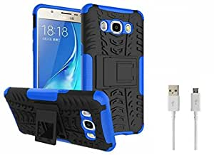 Mobicrafft Tough Hybrid Back Cover Case with Kickstand for Samsung Galaxy J7 2016 (Blue) + Micro USB Data Cable