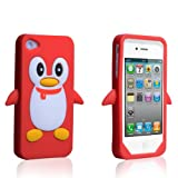 "Apple iPhone 4 Tasche Silikon Pinguin H�lle Rotvon ""Yousave Accessories�"""
