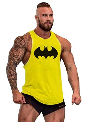 Gillbro T-shirt Mens GYM muscolare allenamento bodybuilding Canotta Batman modello, J, M