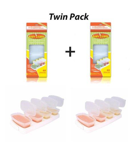 Mamma felice 2 confezione di Baby cubi alimentari cubo Portioners Storage pentole 140 ml (fase 3)