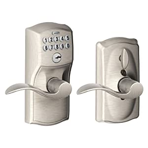 Schlage FE595VCAM619ACC Camelot Keypad Accent Lever Door Lock, Satin Nickel
