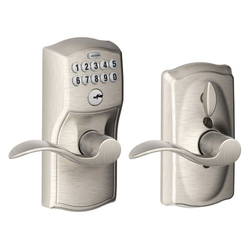 Schlage FE595 CAM 619 ACC Camelot Keypad Entry with Flex-Lock and Accent Levers, Satin Nickel
