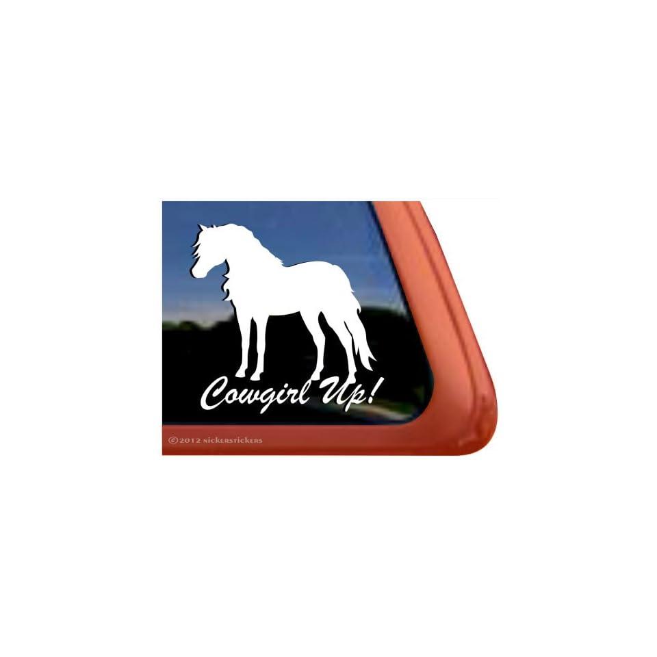Cowgirl Up ~ Shetland Pony Horse Trailer Vinyl Window Decal Sticker