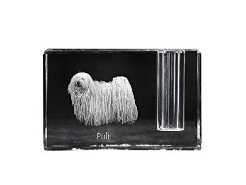 Puli, Supporto della penna di cristallo con il cane, ricordo, scrivania accessorio, in edizione limitata