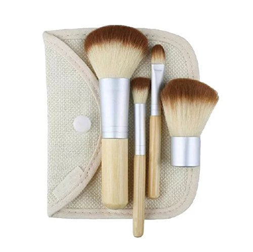 EYX Formula Set of 4 Pcs Bamboo Handle Makeup Cosmetic Brushes,Portable Essential Makeuo tool Cosmetic Brush Set with a Bag for women (Sonia Kashuk Full Brush Set compare prices)