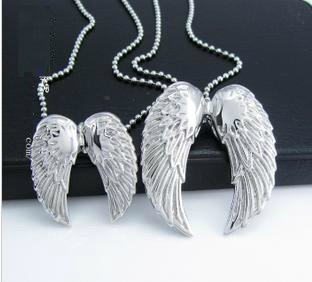 316L Stainless Steel Cubic Zirconia Silver Tone Angel Wings Couples Pendant Necklace Set