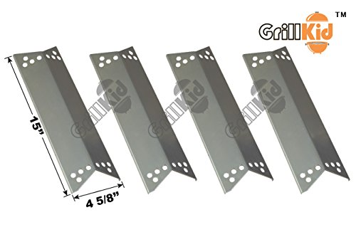 Grillkid HS064 Stainless Steel Heat Plate Replacement for Select Gas Grill Models by Kenmore Sears, Nexgrill, Tera Gear, Charbroil, K-Mart, etc, Compatible with Part Number 90681, 04006137A0, 202150009, Set of 4
