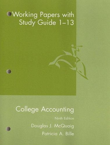 College Accounting Working Papers With Study Guide 1-13