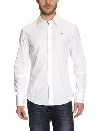 G-Star Men's Cl New Luxor Core Shirt L/S - 83900 Casual Shirt White (White 110) 56