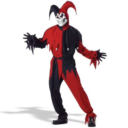 Adult- Red Evil Jester Costume