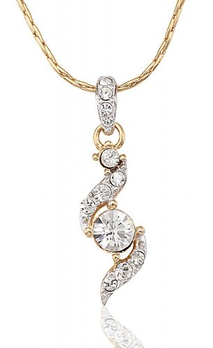 Lifestyle Infinity Lifestyle Gold Plated Clear Crystal Round Necklace For Women (751484G) (Transperant)