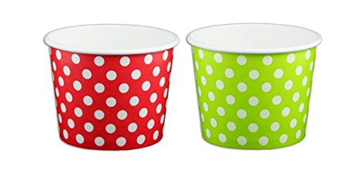 Red and Green Polka Dot Ice Cream Cups 12 oz - 50 count (Paper Ice Cream Cups 12 Oz compare prices)