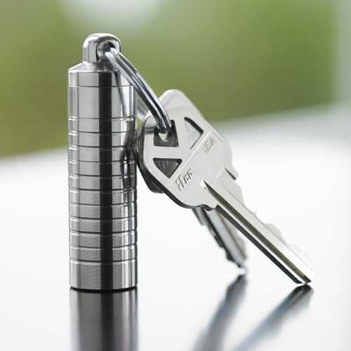 Stainless Steel Keychain Pill Holder - Slim Single Chamber front-1060096